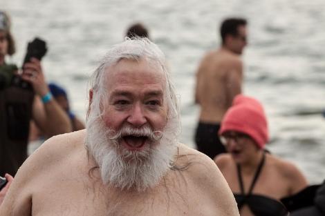 santa takes a dip