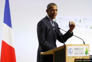 US President Barack Obama delivers a speech on the opening day of the World Climate Change Conference 2015 in Le Bourget